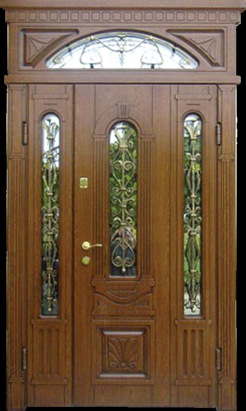 Входные двери со стеклом и ковкой в не стандартном размере